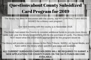 Questions about County Subsidized Card Program for 2019