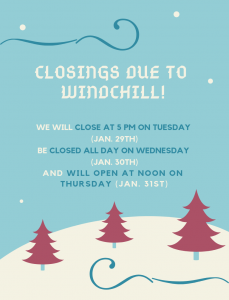 CLosed due to Windchill!